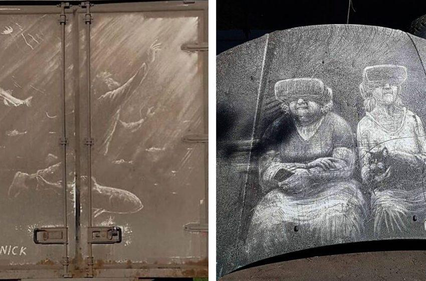 «Необычный и красивый вид творчества»: художник, который рисует свои картины на грязном налете грузовиков